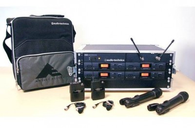 ATW2410aP 4-Way Racked System with 4 ATWT20a Bodypack & Mic