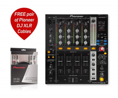 DJM750K 4Ch Pro DJ Mixer with FREE PAIR DAS-XLR030R CABLES