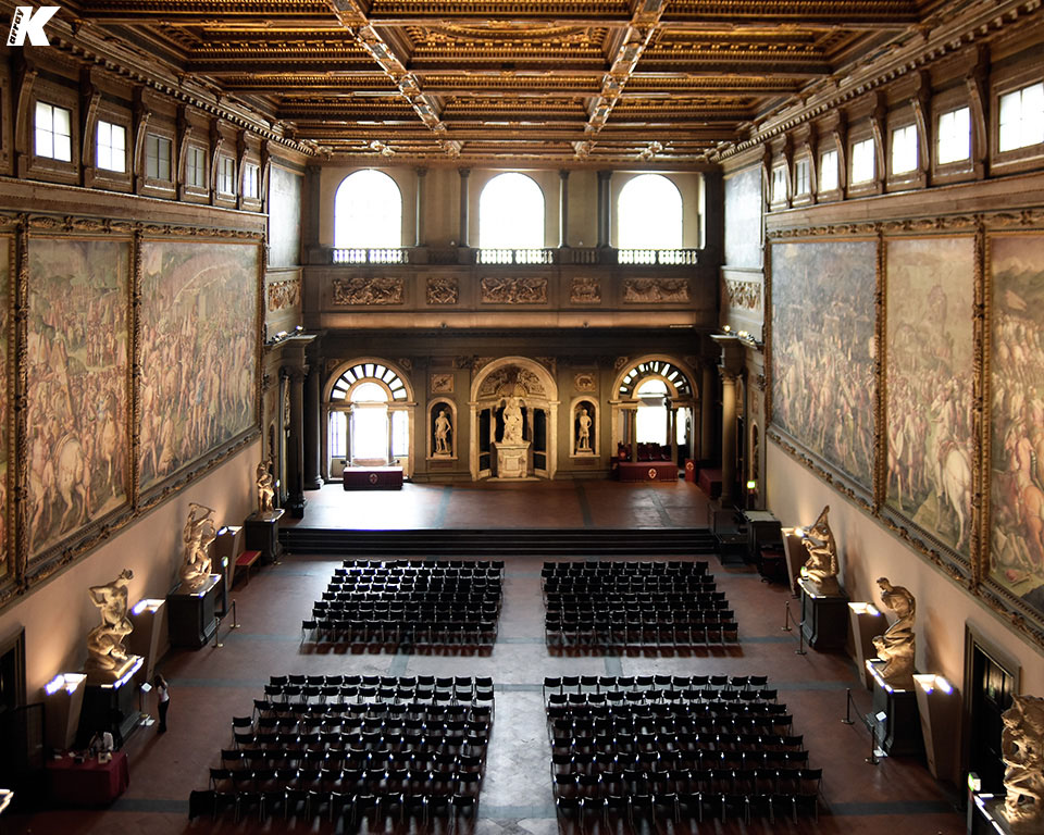 K-array Column Speakers Combat Reverberation in Historic Florentine Hall