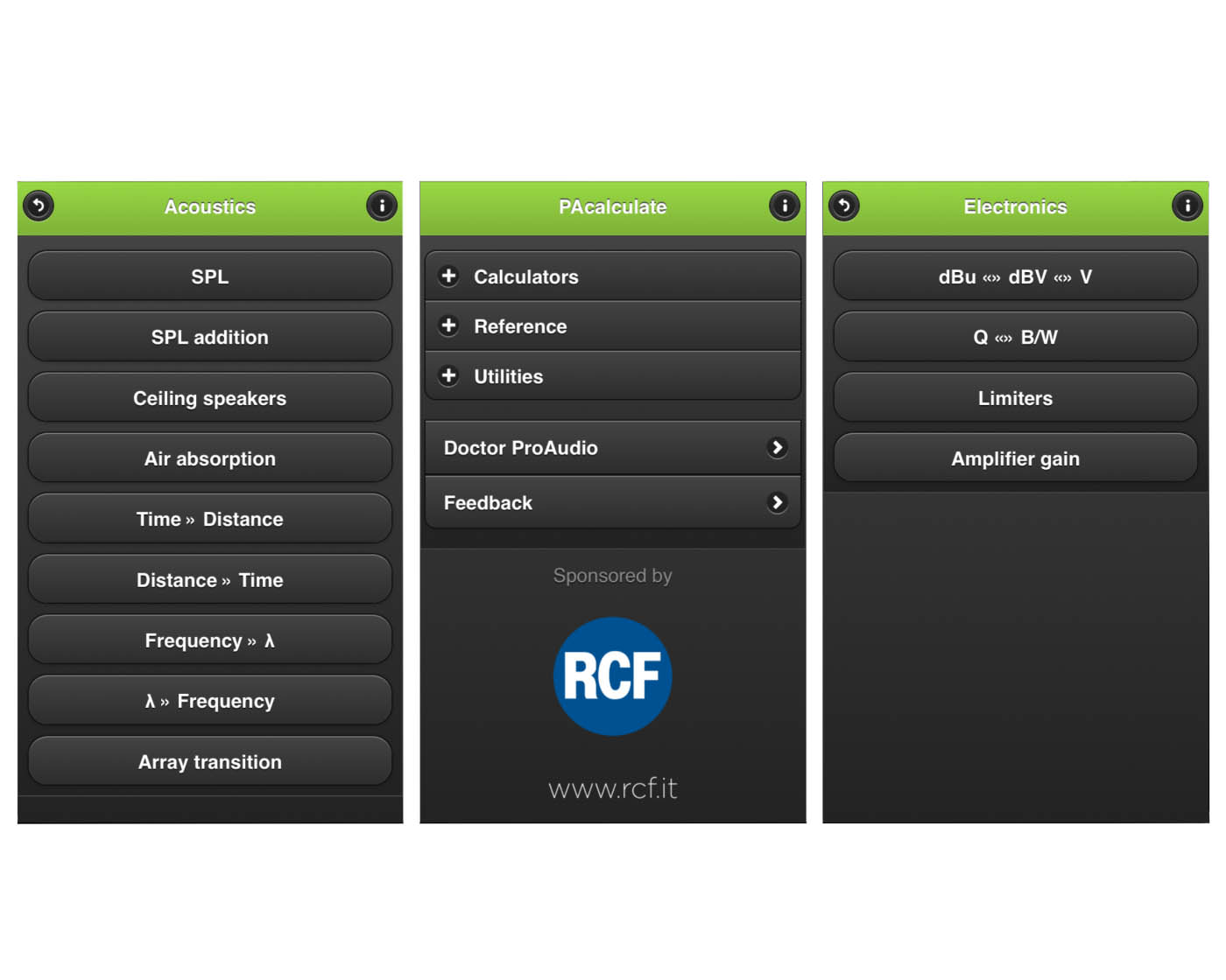 RCF Sponsors PAcalculate App for Pro Audio Industry