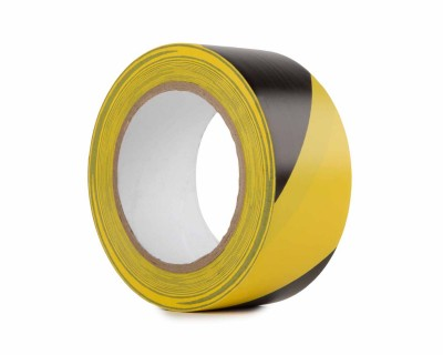 PVC Hazard Warning Tape 50mm x 33m BLACK/YELLOW Stripe