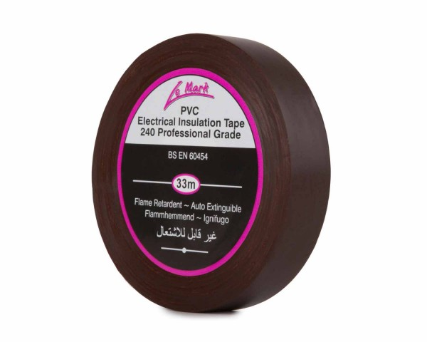 Le Mark PVC Electrical Insulation Tape 19mm x 33m Roll BROWN - Main Image