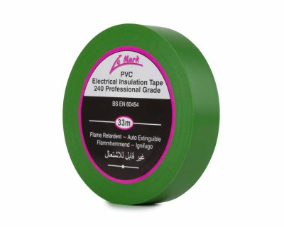PVC Electrical Insulation Tape 19mm x 33m Roll GREEN