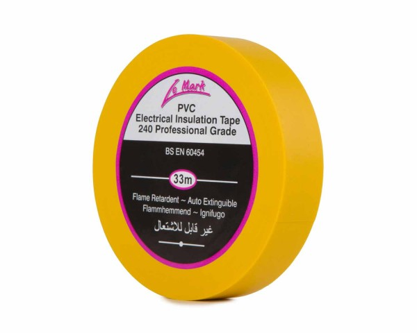 Le Mark PVC Electrical Insulation Tape 19mm x 33m Roll YELLOW - Main Image